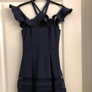 Navy blue off the shoulder dress